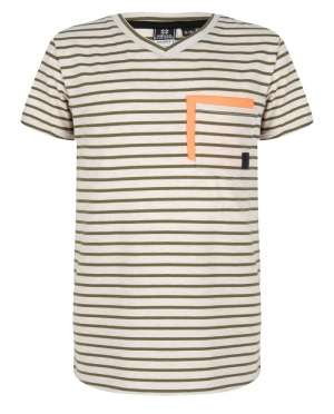 t-shirt V-hals, strepen logo