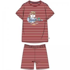 Jongens pyjama fijne streep. logo