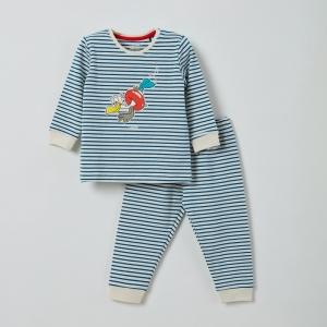 Pyjama unisex fijne streep logo