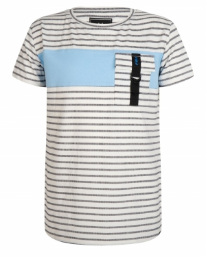 T-shirt fijne streep logo