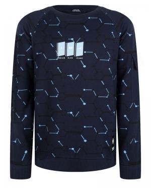 Sweater licht blauw print logo