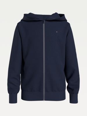 Sweater met kap en rits logo