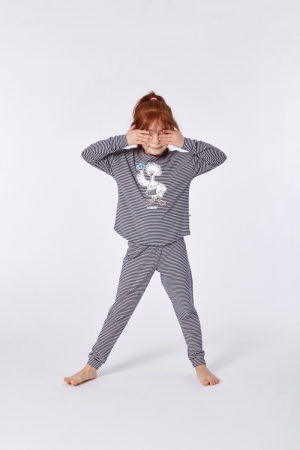 Meisjespyjama afgeronde boord logo