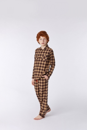 Jongens pyjama flanel geruit logo