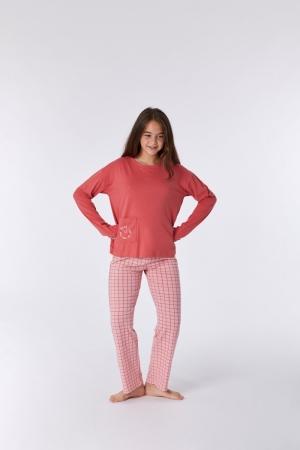 Meisjes pyjama geruite broek logo