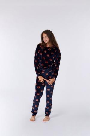 Meisjes pyjama velours, camera logo