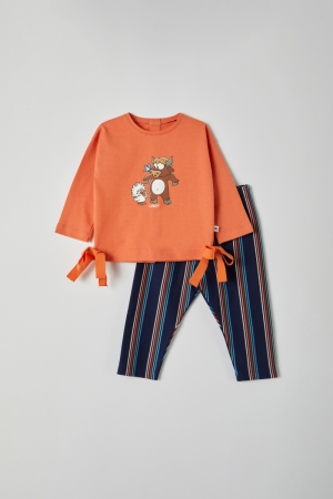 Meisjespyjama strikjes logo