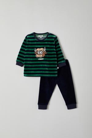 Jongens pyjama velours. logo