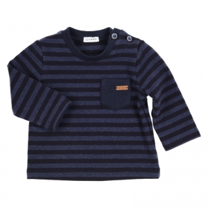 Sweater gestreept. logo