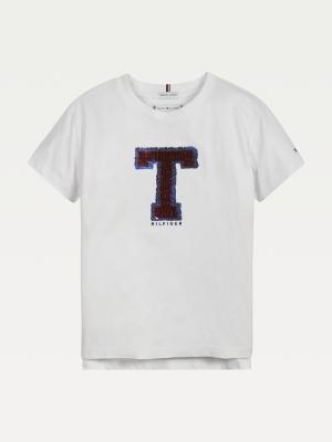 T-shirt T glitter logo